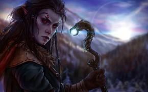 Картинка девушка, посох, ведьма