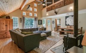 Картинка интерьер, камин, гостиная, столовая, ранчо, The Rustic at Lake Wenatchee