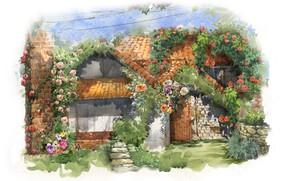 Картинка цветы, живопись, рисунок, дом, акварель
