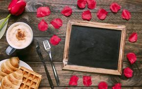 Картинка цветы, подарок, завтрак, лепестки, красные, red, love, flowers, romantic, tulips, coffee cup, valentine's day, круассаны, …