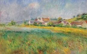 Картинка пейзаж, картина, Пьер Огюст Ренуар, Pierre Auguste Renoir, Деревня Бонкур