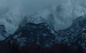 Картинка зима, лес, снег, деревья, горы, природа, скалы, сумерки