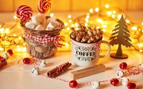 Картинка палочки, Рождество, чашка, корица, декор, карамель, зефир