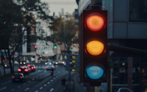 Картинка city, lights, wallpaper, cars, macro, blur, buildings, traffic light, 4k ultra hd background