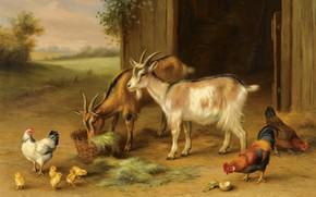 Картинка 1922, британский живописец, British painter, Пара сцен на ферме, Pair of farmyard scenes, Edgar Hunt, …
