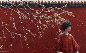 Картинка девушка, снег, дерево, WLOP, Jade (GhostBlade)