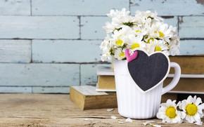 Картинка любовь, цветы, сердце, ромашки, кружка, love, heart, flowers, romantic, mug, camomile