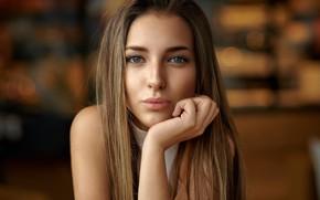 Обои girl, Model, long hair, brown hair, photo, blue eyes, lips, face, portrait, mouth, close up, ...