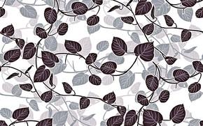 Картинка белый, листья, фон, текстура