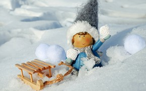 Картинка фото, Зима, Снег, Игрушка, Шапка, Девочка, Сани