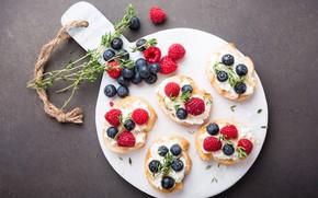 Картинка ягоды, бутерброды, десерт