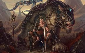 Картинка Девушка, Монстр, Доспехи, Girl, Меч, Воин, Пасть, Волк, Monster, Арт, Art, Warrior, Фантастика, Wolf, Sword, ...
