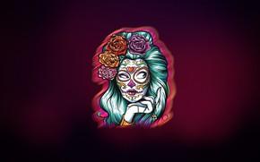 Картинка Девушка, Стиль, Лицо, Фон, Calavera, Día de los Muertos, Dia de los Muertos, Sugar Skull, …