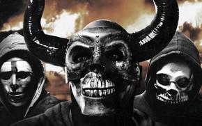 Картинка люди, фантастика, рога, черепа, маски, триллер, постер, ужасы, капюшоны, The First Purge, Судная ночь. Начало