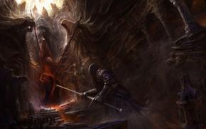 Картинка Меч, Hell, Heaven, Демон, Fantasy, Демоны, Мечи, Арт, Art, Фантастика, Небеса, Lilith, Sword, Demon, Swords, …