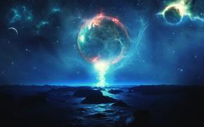 Картинка свобода, космос, ночь, пространство, планеты, space, night, freedom, planets, отблески, beautiful landscape, другой мир, another …