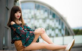 Картинка девушка, ножки, азиатка, милашка