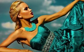 Картинка девушка, поза, стиль, модель, макияж, платье, прическа, блондинка, коса, украшение, glamor, Halay Alex