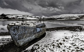 Картинка зима, река, берег, лодка