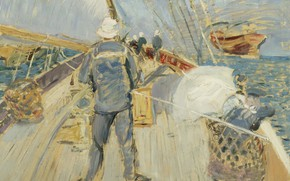 Картинка картина, 1897, моряк, Поль Сезар Эллё, Paul Cesar Helleu, На Борту
