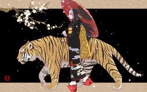 Картинка Девушка, Тигр, Сакура, Girl, Зонт, Маска, Арт, Art, Sakura, Tiger, Umbrella, Mask, Jean Lu, Sanpo, …