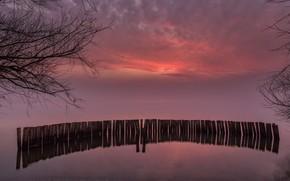 Картинка облака, озеро, зарево