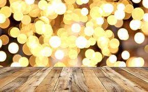 Картинка фон, дерево, доски, golden, золотой, gold, wood, background, боке, bokeh, table, sparkle
