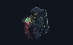 Картинка Рисунок, Медуза, Астронавт, Перчатки, Шлем, Космонавт