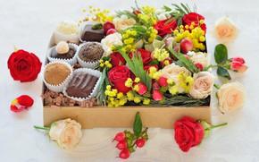 Картинка цветы, подарок, конфеты, день святого валентина