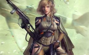 Картинка девушка, пистолет, фантастика, солдат, автомат, cyberpunk, World War 2