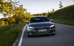 Картинка Audi, спереди, обочина, Audi A7, 2019, тёмно-серый, S7 Sportback