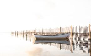 Картинка природа, лодка, утро
