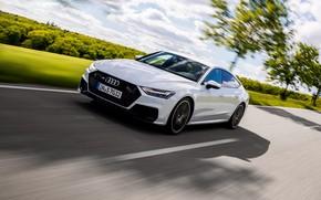 Картинка белый, Audi, скорость, Audi A7, 2019, S7 Sportback