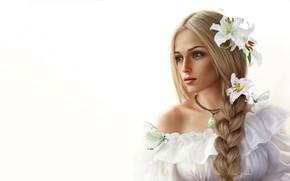 Картинка Цветы, Девушка, Минимализм, Рисунок, Бабочка, Цветок, Блондинка, Лицо, Girl, Фон, Портрет, Коса, Beautiful, Flower, Flowers, …