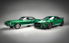 Картинка Mustang, Ford, Shelby, GT500, пара, 1968, 2020, Green Hornet, EXP 500