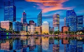 Картинка город, огни, отражение, здания, дома, небоскребы, Австралия, водоем, Перт