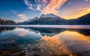 Картинка зима, небо, вода, закат, горы, озеро, вид, Канада, Альберта