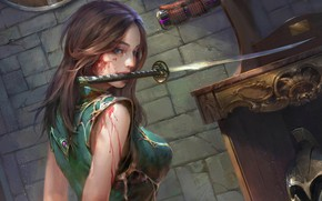 Картинка взгляд, девушка, оружие, кровь, фэнтези, арт