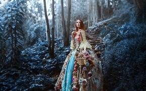 Картинка лес, девушка, цветы, корзина, Ronny Garcia, The last flowers of the season