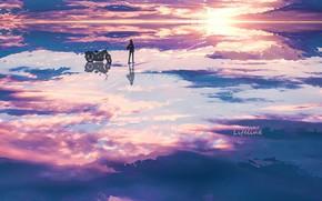 Картинка вода, девушка, закат, мотоцикл