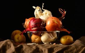 Картинка еда, лук, черный фон, натюрморт, овощи, разные, композиция, чеснок, картошка