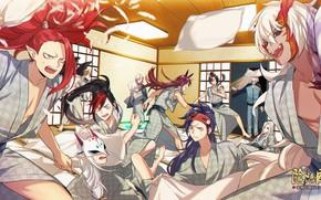 Картинка комната, подушки, драка, парни, Onmyouji, онмёджи