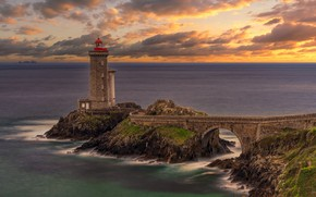 Картинка France, Rocks, Brittany, Seascape, Petit Minou Lighthouse