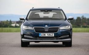 Картинка вид спереди, 4x4, Škoda, универсал, Skoda, Scout, тёмно-синий, Superb, 2020