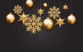 Картинка золото, шары, Новый Год, golden, черный фон, black, balls, background, New Year, Happy, sparkle, glitter, …