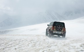 Картинка снег, Land Rover, snow, Defender, Land Rover Defender, Land Rover Defender 90 D240 SE, 90 …