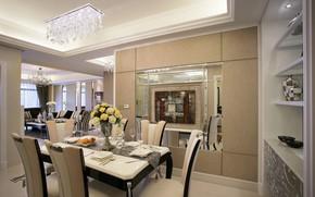 Картинка цветы, стол, стулья, интерьер, люстра, гостиная, столовая