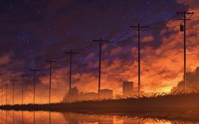 Картинка небо, озеро, дома, лэп