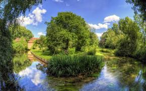 Картинка небо, вода, деревья, река, Германия