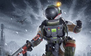Картинка зима, снег, оружие, скафандр, квадрокоптер, PlayerUnknown's Battlegrounds